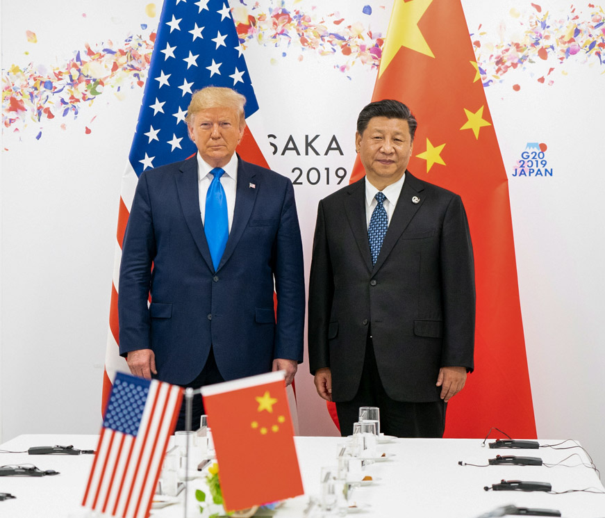 President Donald J. Trump joins Xi Jinping, President of the People's Republic of China, at the start of their bilateral meeting Saturday, June 29, 2019, at the G20 Japan Summit in Osaka, Japan. ( Official White House Photo by Shealah Craighead)