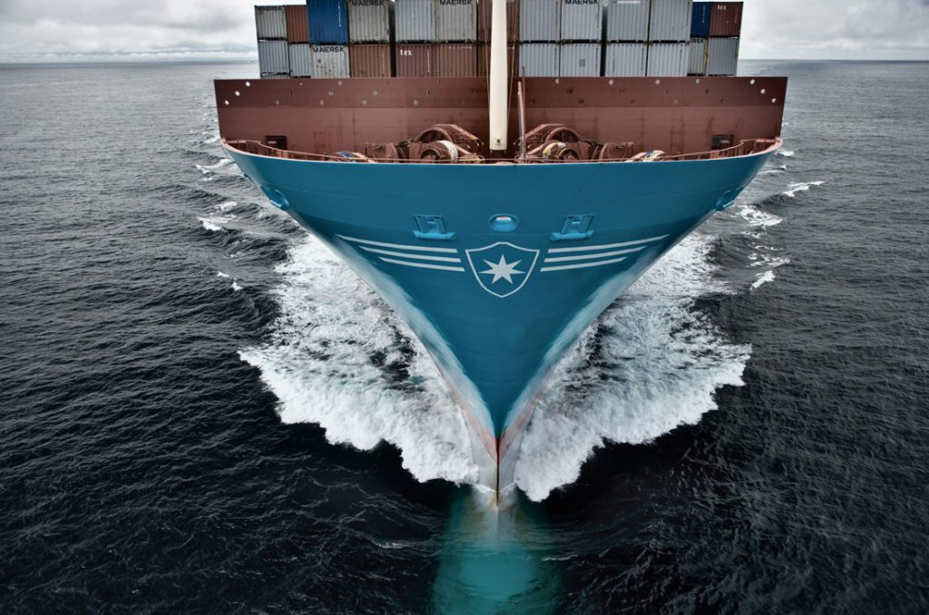 Bow of Maersk vessel